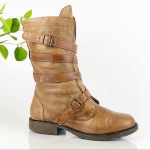 Steve Madden Combat Moto Boot  Honey Brown Leather
